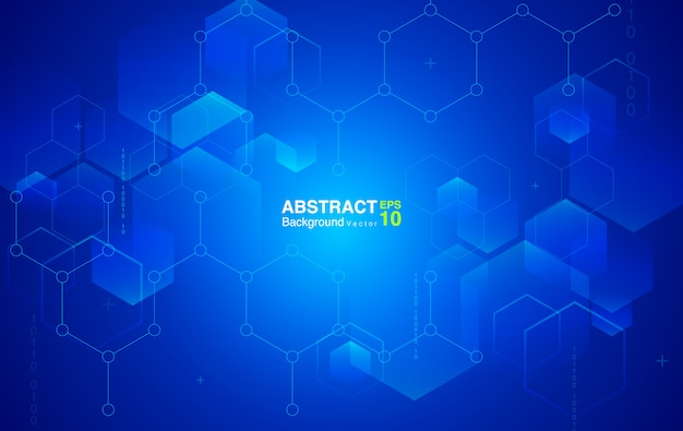 Fond d'hexagones bleus. contexte futuriste