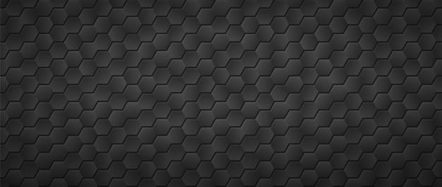 Fond d'hexagones dégradé noir. entrelacs en nid d'abeille
