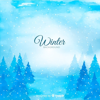 Fond d'hiver aquarelle de tons froids