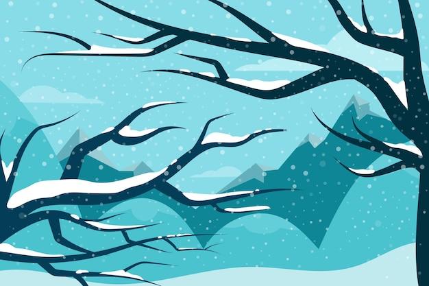 Fond d'hiver avec des arbres sans feuilles