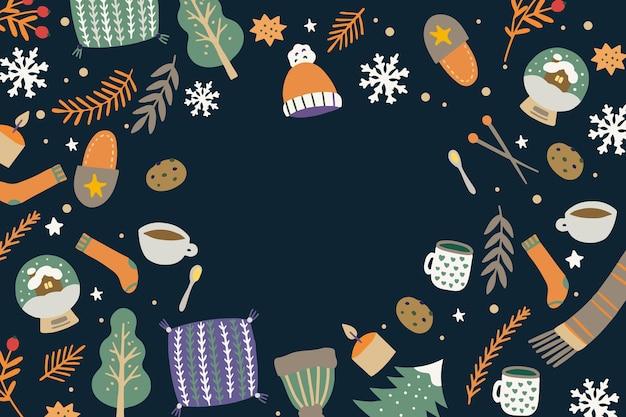Fond d'hiver au design plat
