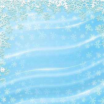 Fond d'hiver bleu de vecteur avec des lignes ondulées brillantes et des flocons de neige blancs