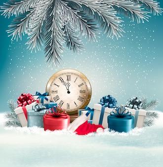 Fond d'hiver avec des cadeaux et horloge. vecteur.