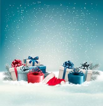 Fond d'hiver avec des cadeaux.