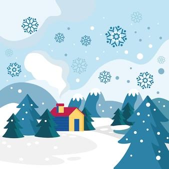 Fond d'hiver design plat