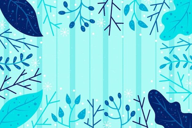 Fond d'hiver dessiné avec des plantes