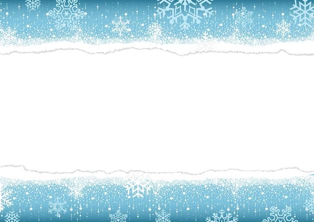 Fond d'hiver avec du papier déchiré avec des bords déchirés avec de l'espace