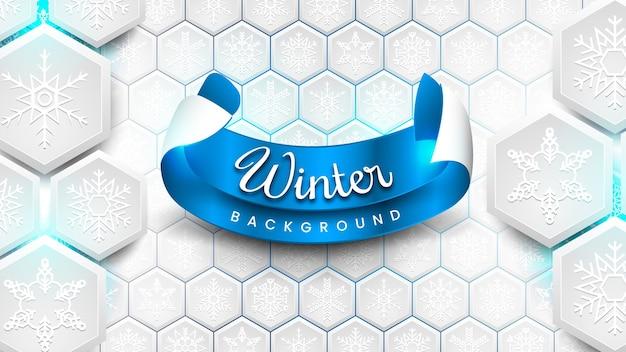 Fond d'hiver avec des flocons de neige hexagonaux