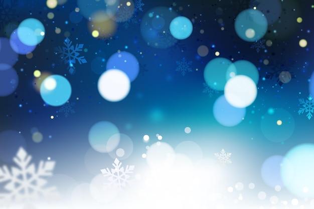Fond d'hiver flou bleu