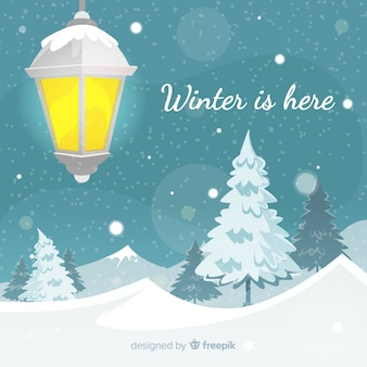 Fond d'hiver de lampadaire