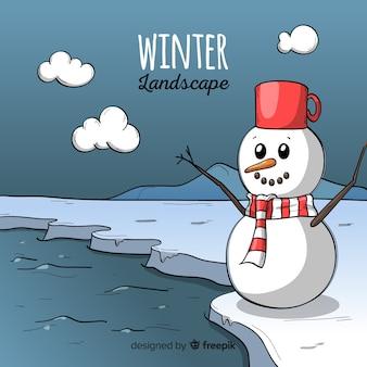 Fond d'hiver souriant bonhomme de neige