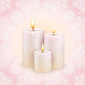 Fond d'hiver, les trois bougies allumées. vecteur