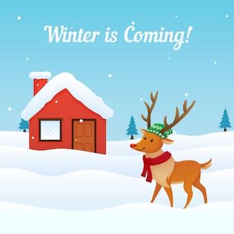 Fond d'hiver à venir avec mignon renne habillé à l'avant de la carte de voeux de maison enneigée