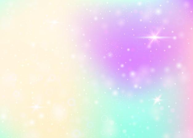 Fond d'hologramme avec maille arc-en-ciel. bannière d'univers de fille aux couleurs de princesse. toile de fond dégradé fantaisie. fond magique d'hologramme avec des étincelles de fée, des étoiles et des flous.