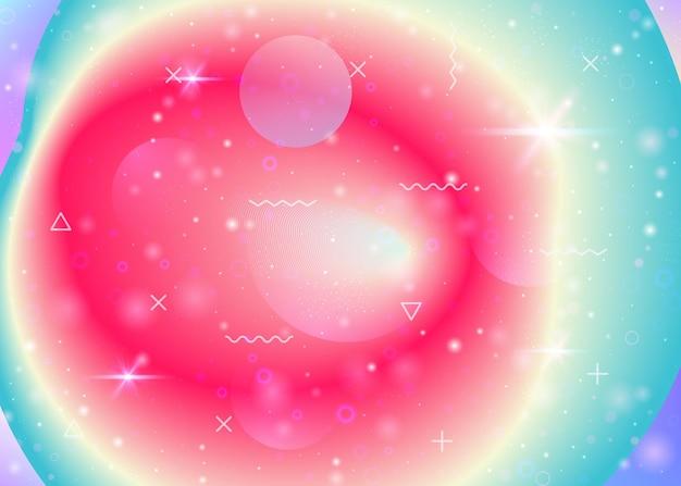 Fond holographique avec des dégradés arc-en-ciel vibrants. fluide dynamique. hologramme du cosmos. disposition de conception pour l'interface mobile, la bannière et le papier peint. fond holographique de memphis.