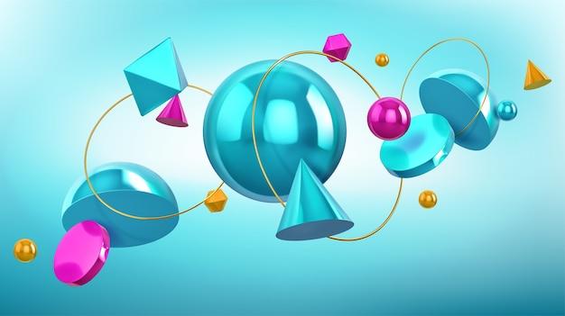 Fond holographique avec des formes géométriques 3d, des sphères et des anneaux d'or. dessin abstrait avec des chiffres de rendu turquoise et bleu, cône, boule, octaèdre et hémisphère sur fond bleu