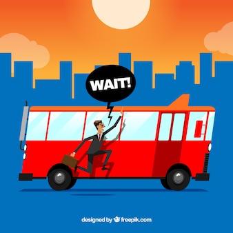 Fond d'un homme qui court derrière un bus rouge