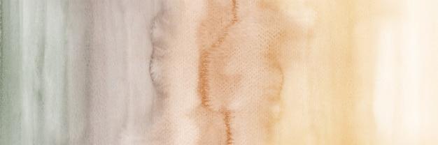 Fond horizontal abstrait dégradé vintage créatif avec des taches d'aquarelle peintes à la main.