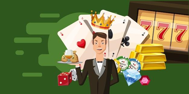 Fond horizontal de casino croupier