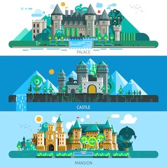 Fond horizontal de châteaux antiques