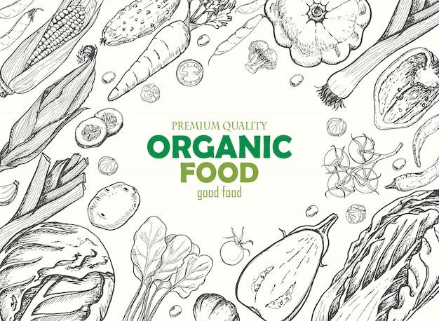 Fond horizontal avec différents légumes.