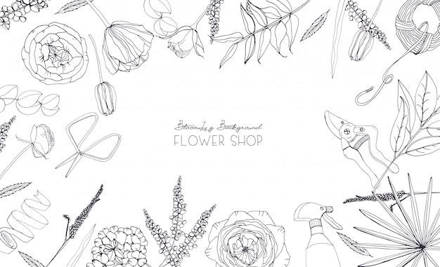 Fond horizontal avec des fleurs pour la publicité, magasin de fleurs, salon. composition monochrome dessinée à la main avec place pour le texte