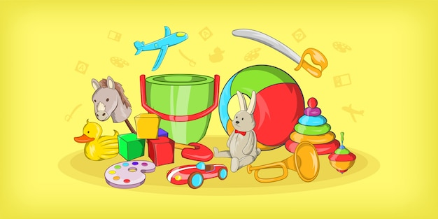 Fond horizontal de jouets pour enfants, style cartoon
