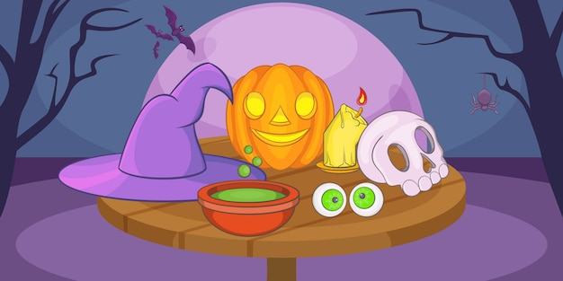 Fond horizontal mystique de haloween, style cartoon