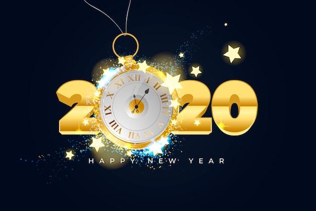 Fond d'horloge réaliste nouvel an 2020