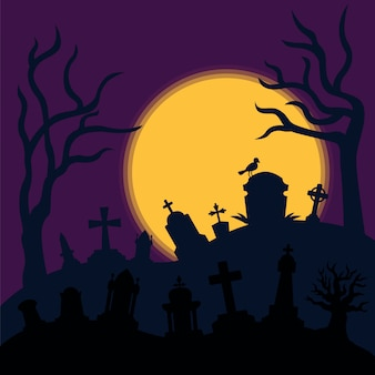 Fond d'horreur de cimetière