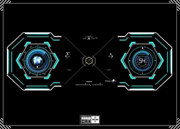 Fond de hud. vaisseau spatial du tableau de bord. la vue est fantastique. interface utilisateur futuriste. abstrait futur, concept bleu futuriste.