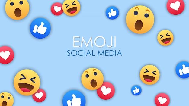 Fond d'icône emoji de médias sociaux