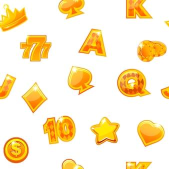 Fond avec des icônes de casino or sur blanc, motif répétitif sans soudure.