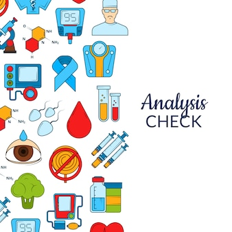 Fond d'icônes de diabète de couleur