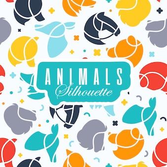 Fond avec des icônes du logo animaux.