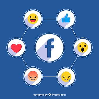 Fond d'icônes facebook avec un design plat
