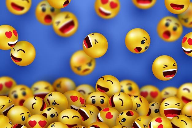 Fond avec des icônes heureux de visage souriant