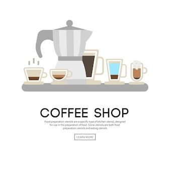 Fond avec des icônes de la tasse de café