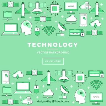 Fond d'icônes technologiques