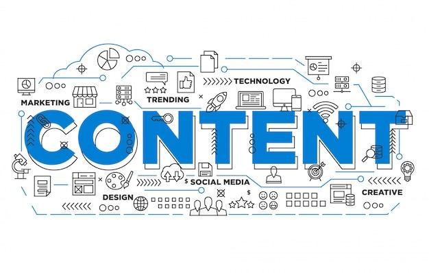 Fond iconique de contenu marketing numérique
