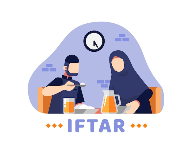 Fond d'iftar avec couple musulman manger ensemble dans la salle à manger