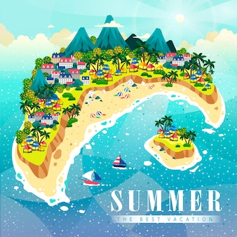 Fond de l'île d'été