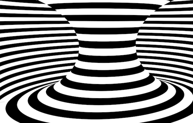 Fond d'illusion optique de tunnel de trou de ver hypnotique noir et blanc.