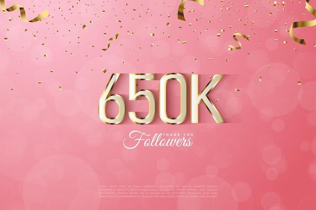 Fond d'illustration de 650k adeptes avec des nombres bordés d'or fantaisie