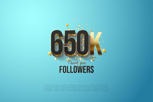 Fond d'illustration de 650k adeptes avec superposition de chiffres dorés