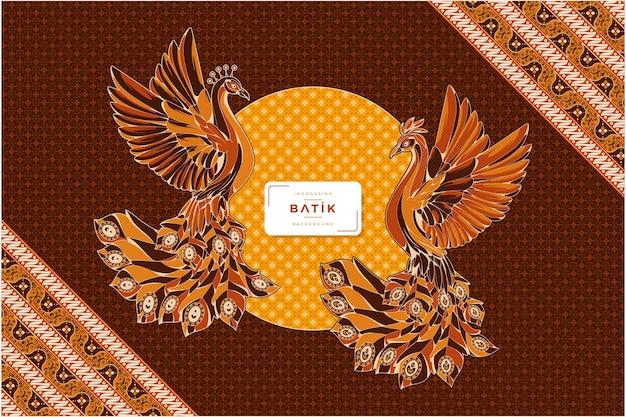Fond d'illustration batik paon traditionnel indonésien