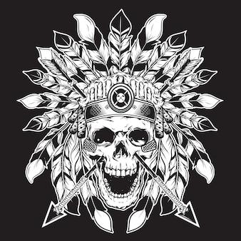 Fond illustration chef crâne pour la conception de la chemise