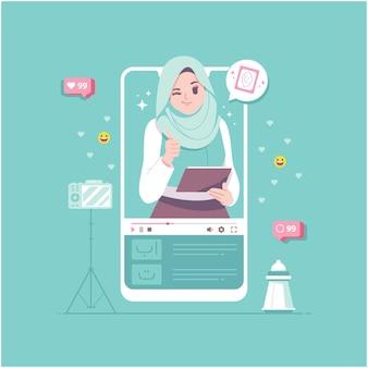 Fond d'illustration de concept d'apprentissage islamique en ligne