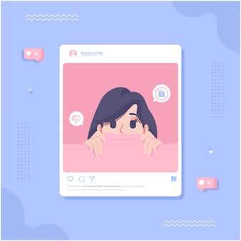 Fond d'illustration de concept d'insécurité des médias sociaux