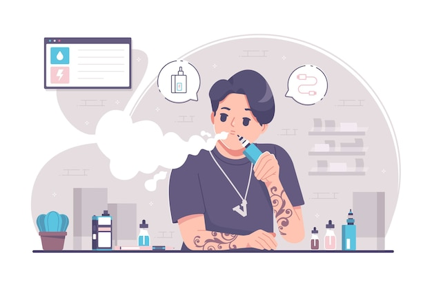 Fond d'illustration de concept de vape addiction